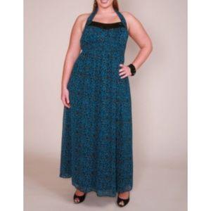 Torrid Maxi Dress in Blue Leopard Halter Neck 4x